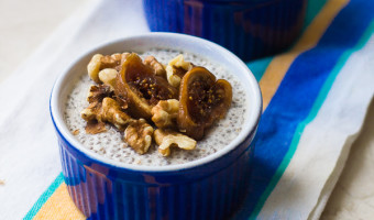 Honey-Vanilla Chia Seed Pudding with Figs & Walnuts [W/ Vegan Option]