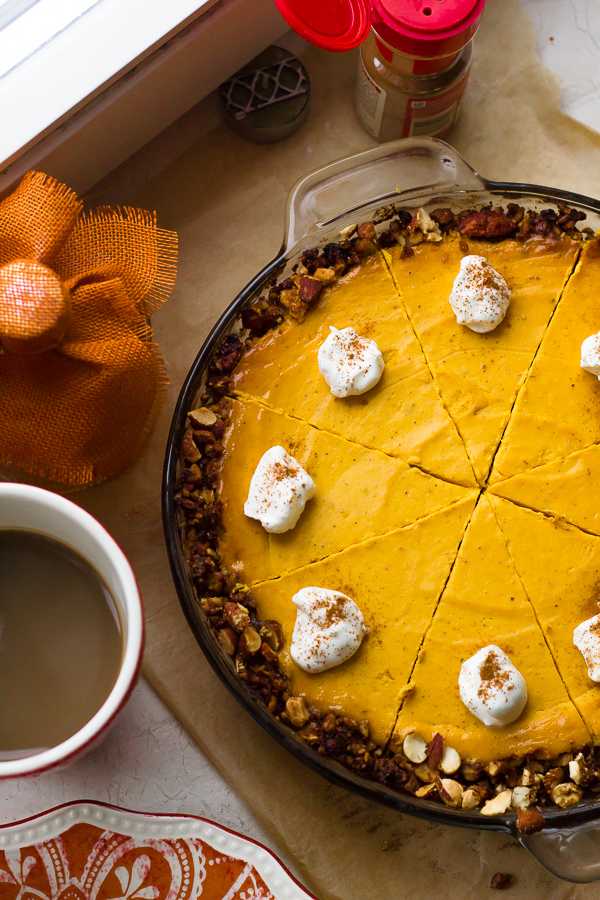 Gluten Free Greek Yogurt Pumpkin Cheesecake with Almond Pecan Crust