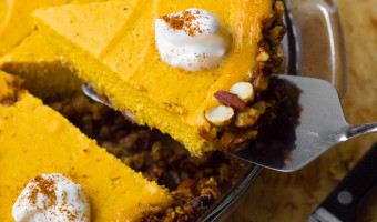 Pumpkin Greek Yogurt Cheesecake with Almond-Pecan Crust [Gluten-Free]