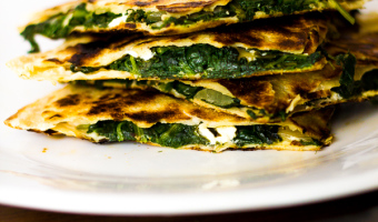 Greek Spinach & Feta Quesadillas with Tzatziki Sauce