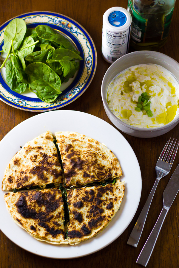 Greek Spinach Feta Quesadilla Tzatziki