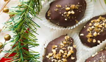 Chocolate Covered Melomakarona (Greek Honey-Walnut Cookies)