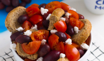 Rusk Salad with Tomatoes, Olives & Feta